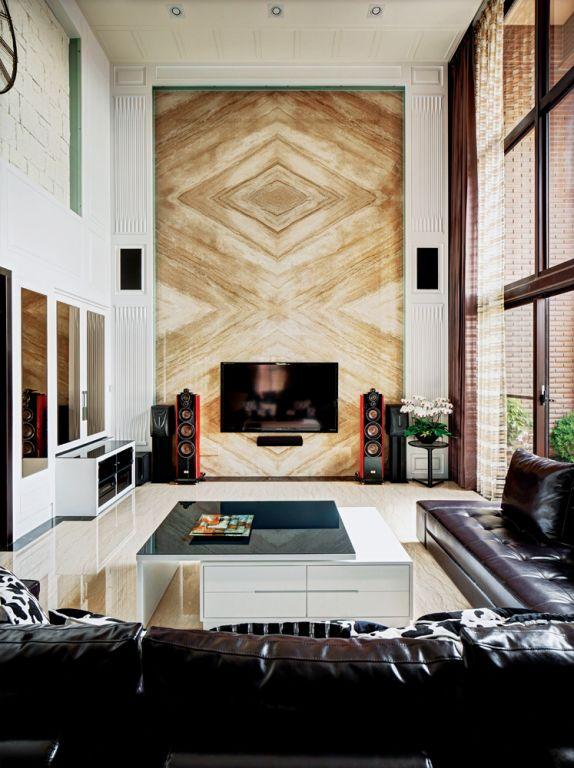 现代中式客厅电视背景墙设计