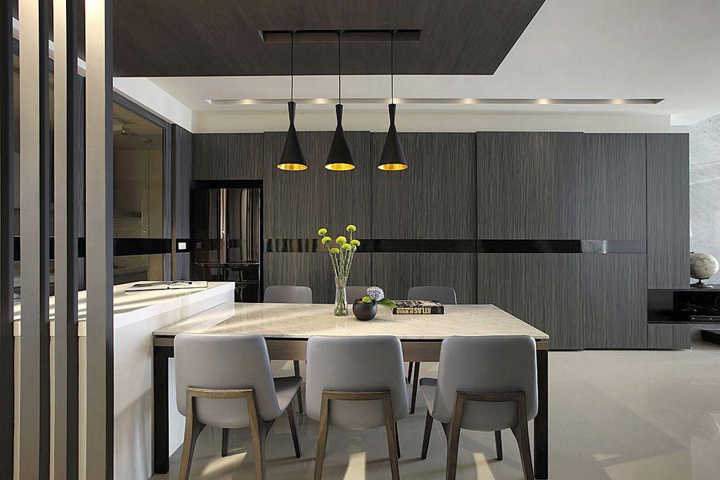 餐厅_现代家居餐厅黒木背景墙装饰_装修百科