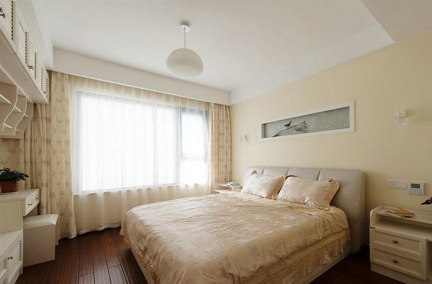 米白色装饰简中式卧室效果图_装修百科