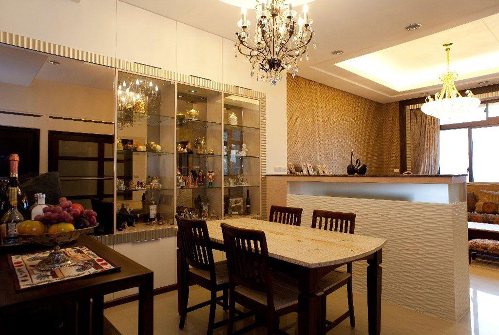 美式風格餐客廳半隔斷設計