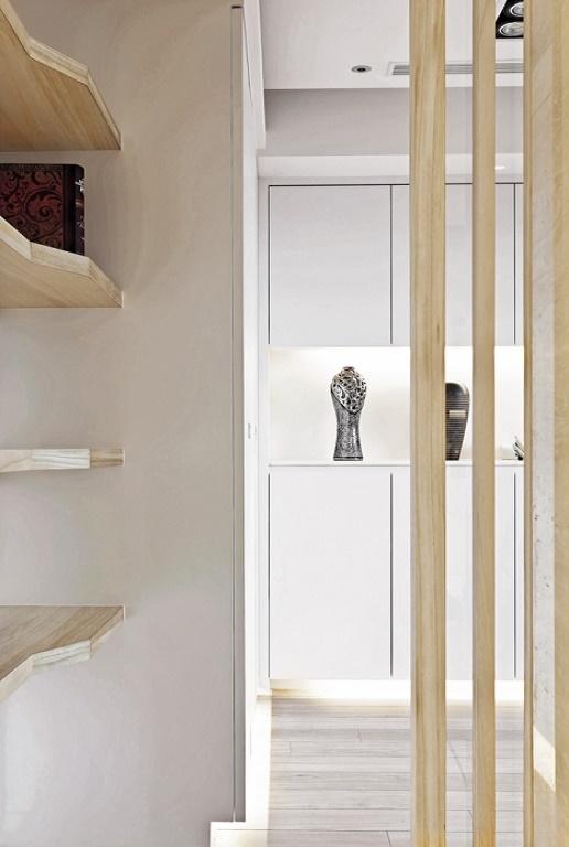 时尚现代简约木条隔断设计