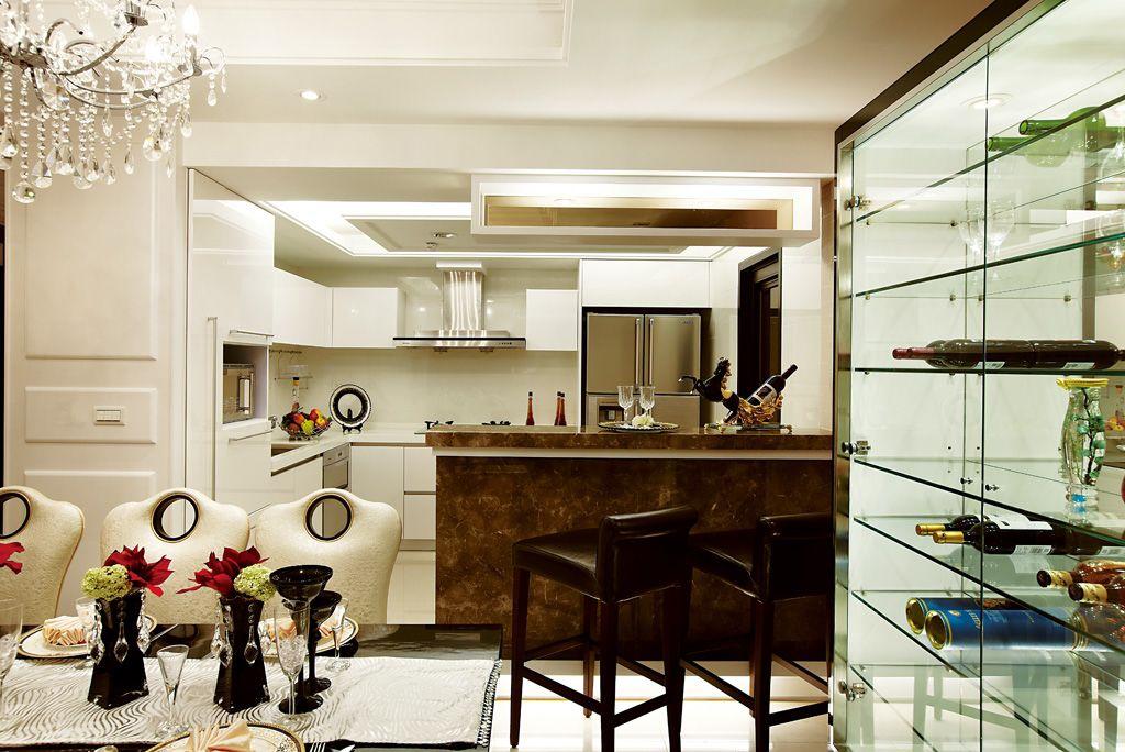 后现代风厨房吧台装饰图_装修百科