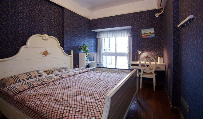 深紫色美式乡村风卧室效果图