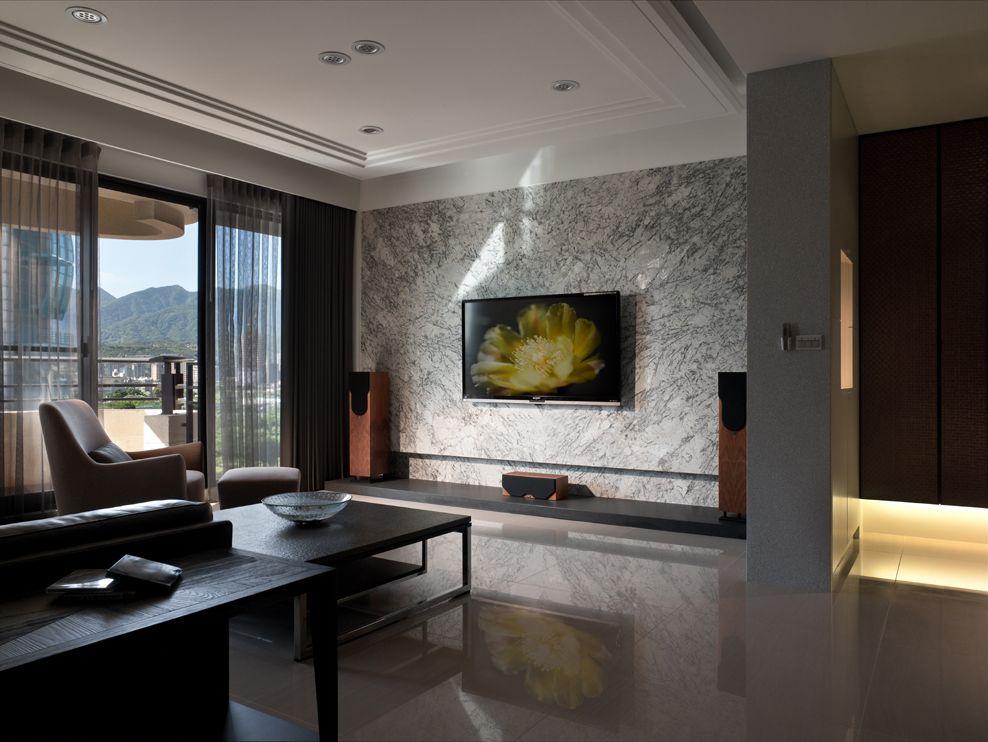 现代客厅大理石背景墙效果图