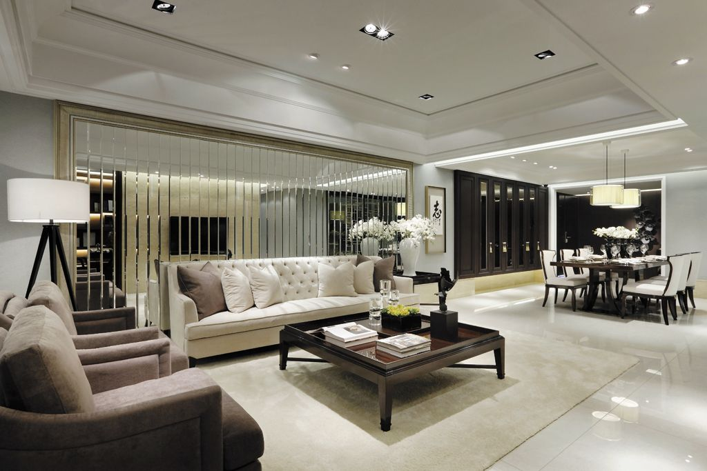 摩登现代客厅镜面背景墙设计