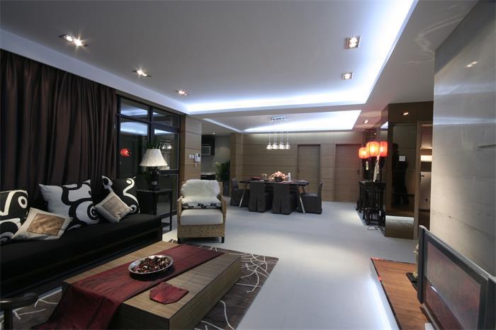 新中式风格客餐厅吊顶效果图