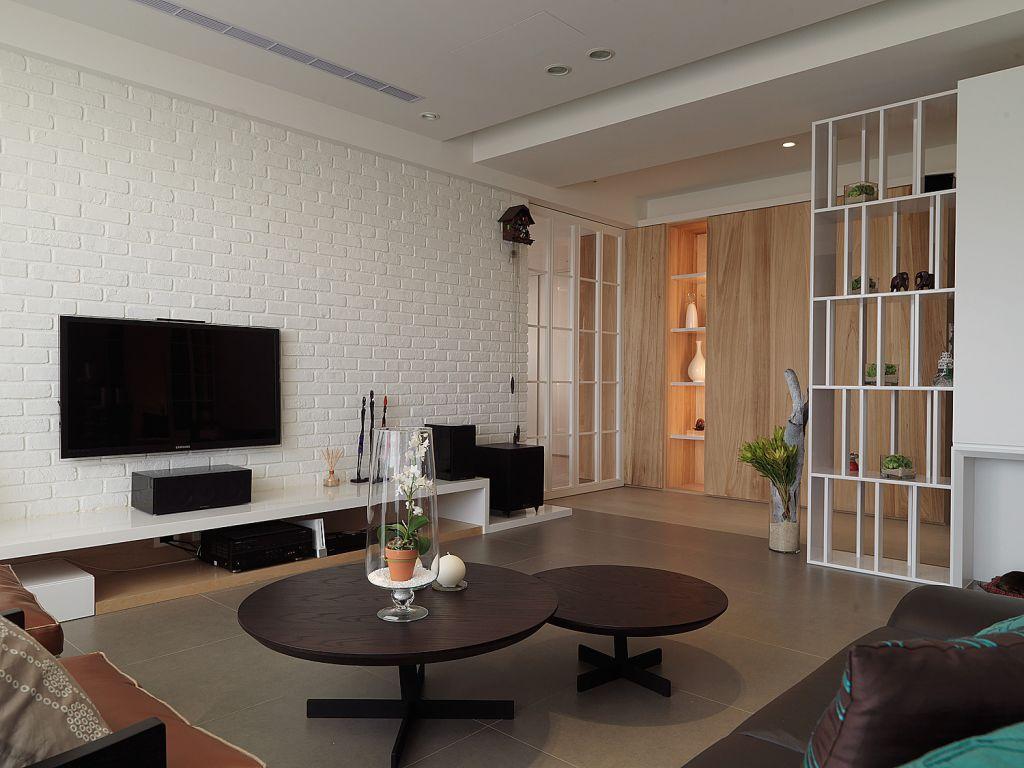 时尚现代客厅 石灰背景墙效果图