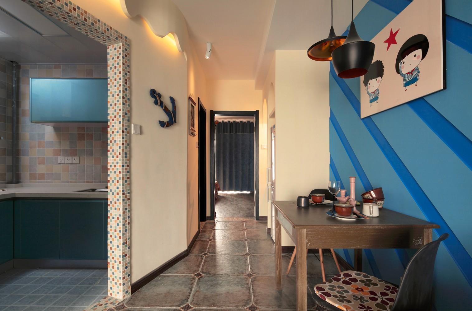 藍色調混搭過道小餐廳設計