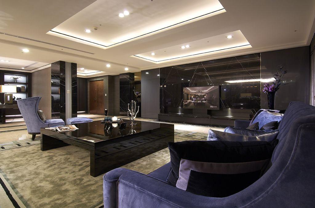 摩登現代客廳 黑色電視背景墻裝潢圖