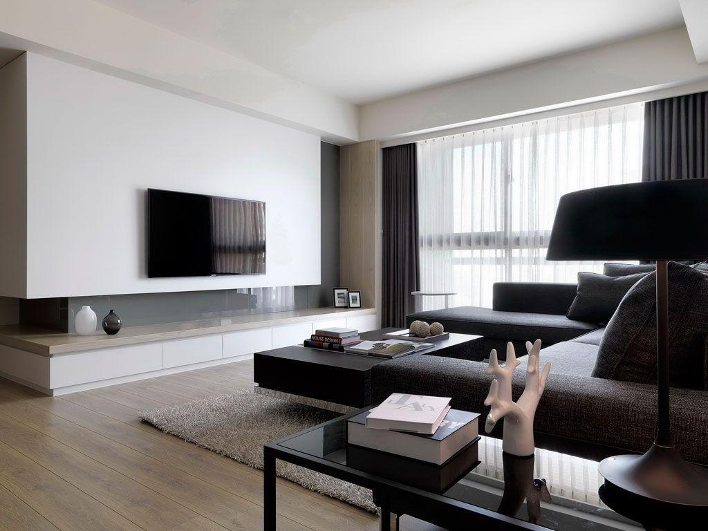现代时尚客厅 纯白电视背景墙效果图_装修百科
