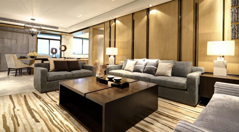 优雅简约现代二居室装潢图