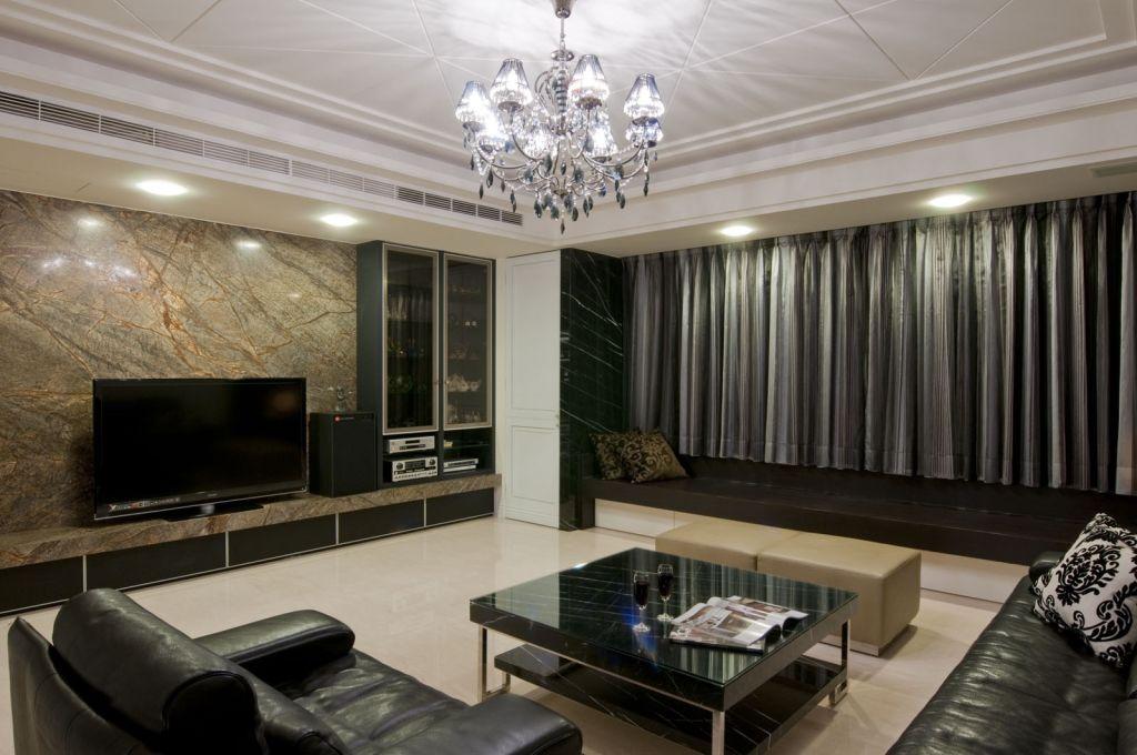 時尚黑色現代客廳家裝圖
