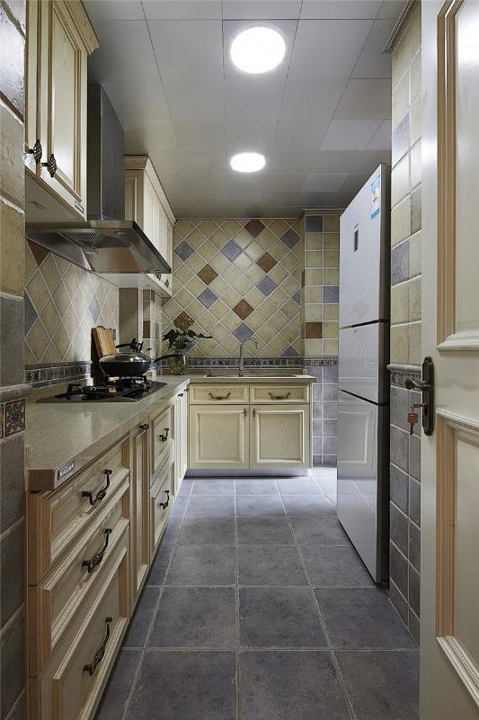 米黃色美式風格廚房效果圖