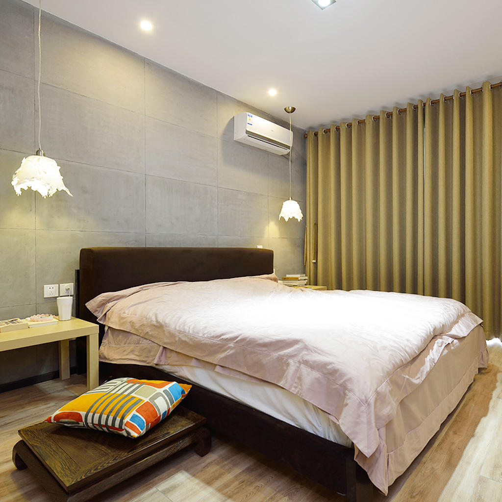 混搭設計臥室落地窗簾設計