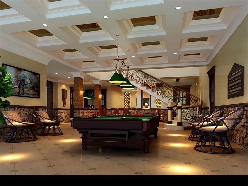 现代中式风格 别墅桌球室吊顶效果图_装修百科图片