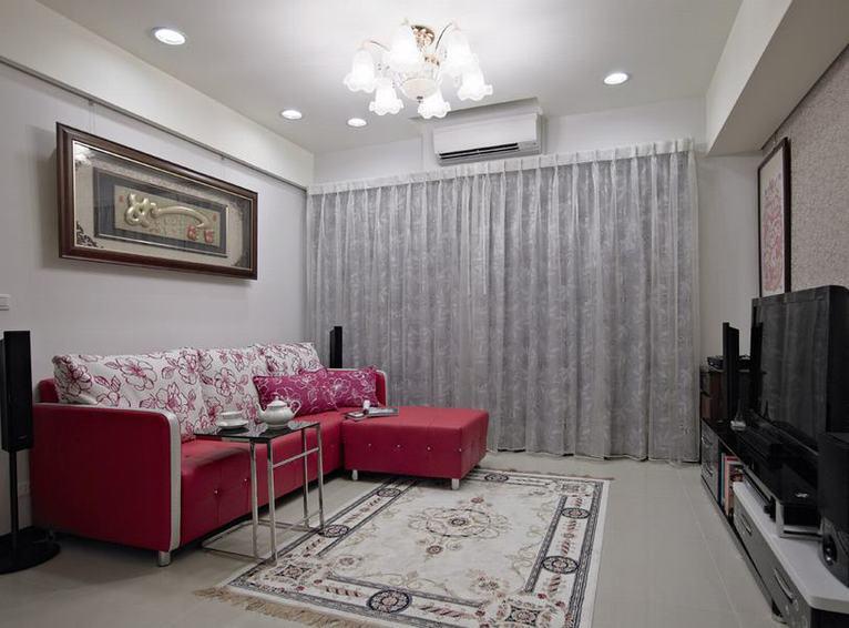 现代家装客厅 红色真皮沙发效果图