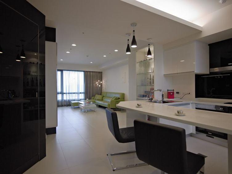 黑白簡約廚房吧臺設計