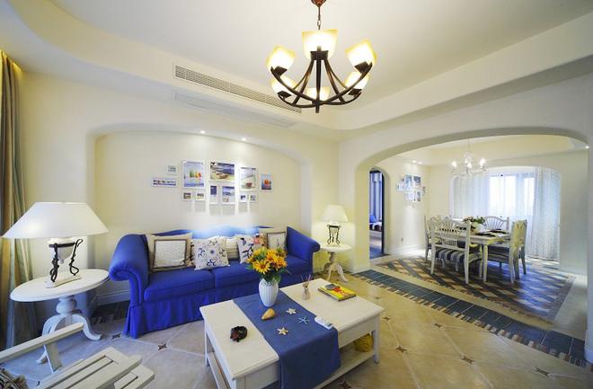 蓝色地中海风格相片墙欣赏