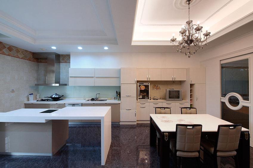 现代餐厨房大理石地板装饰_装修百科