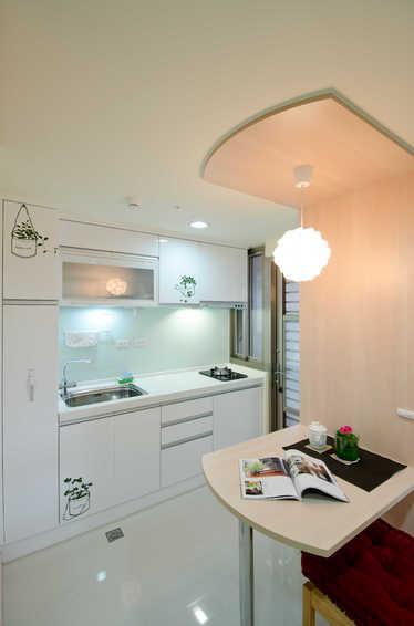 简约设计 小户型餐厨房一体效果图_装修百科