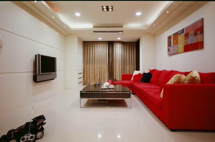 现代简约客厅红色沙发效果图