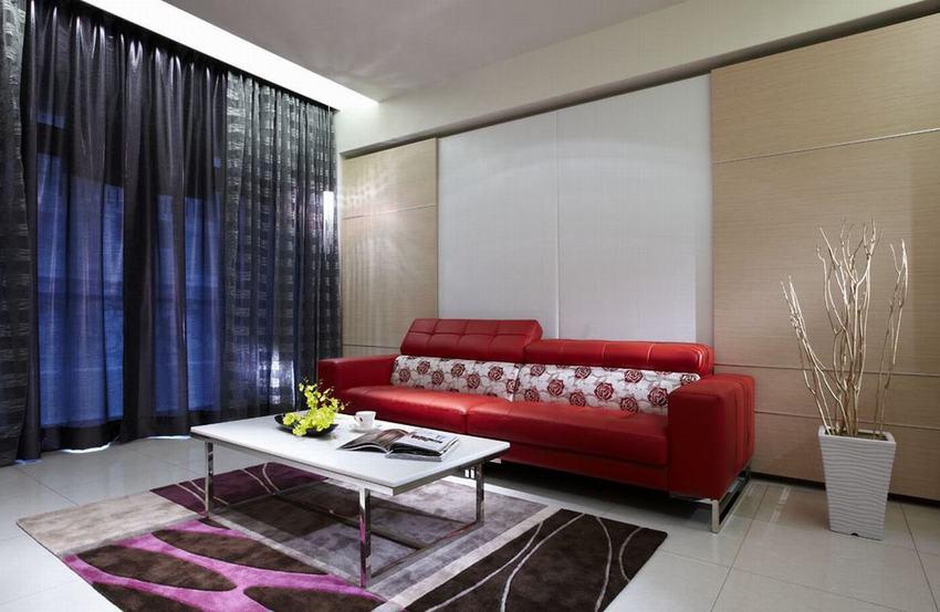 时尚潮流设计 现代客厅红色沙发图_装修百科