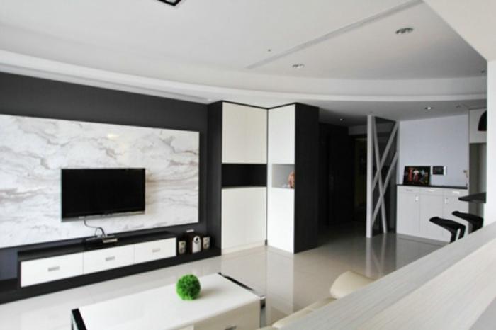 黑白简约客厅电视背景墙设计_装修百科