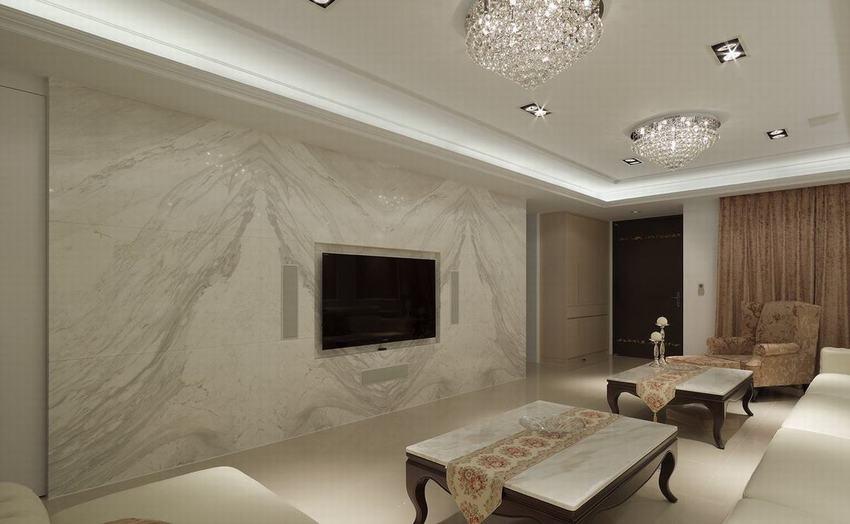 时尚混搭客厅 大理石背景墙设计