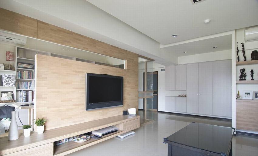 现代家居客厅 原木电视背景墙设计_装修百科