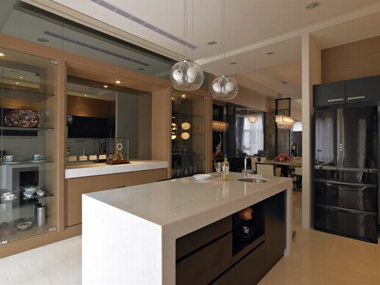 装修百科 装修效果图 装修美图 现代家居厨房大理石吧台设计 现代家居