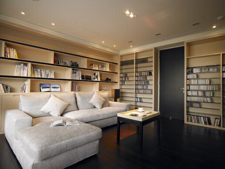 现代家居书房墙面书柜效果图