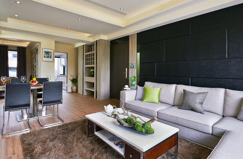 摩登現代客廳 黑色背景墻裝飾圖