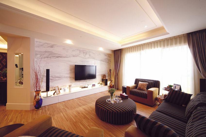 大理石現代客廳 電視背景墻效果圖