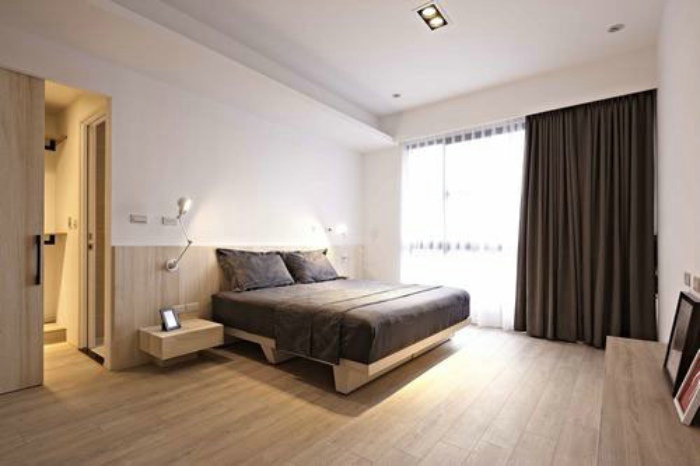 现代日式卧室窗帘装饰_装修百科
