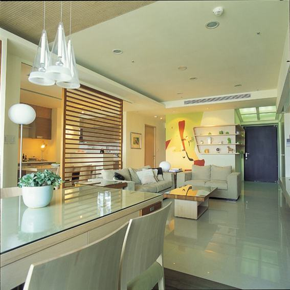 現代時尚三居客廳效果圖