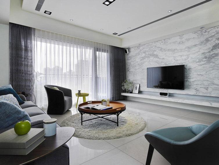 现代装修 客厅大理石背景墙设计