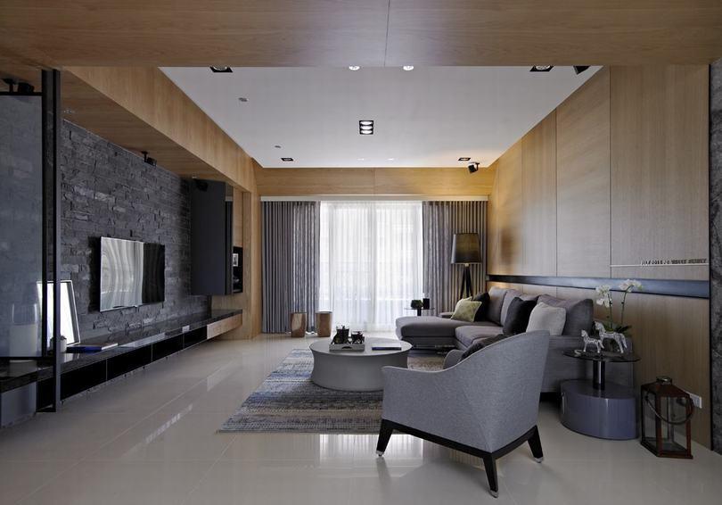 水泥质感打造的现代美式公寓效果图