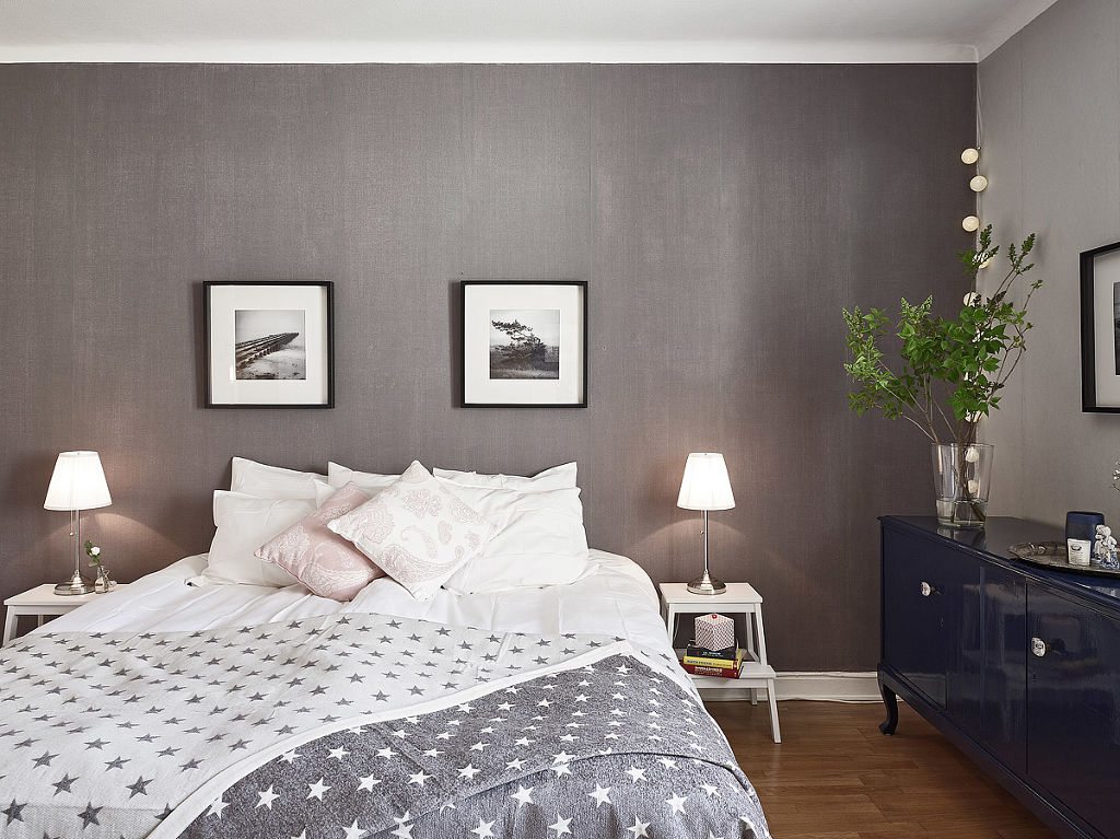 装修效果图 装修美图 北欧卧室灰色背景墙装潢图图片
