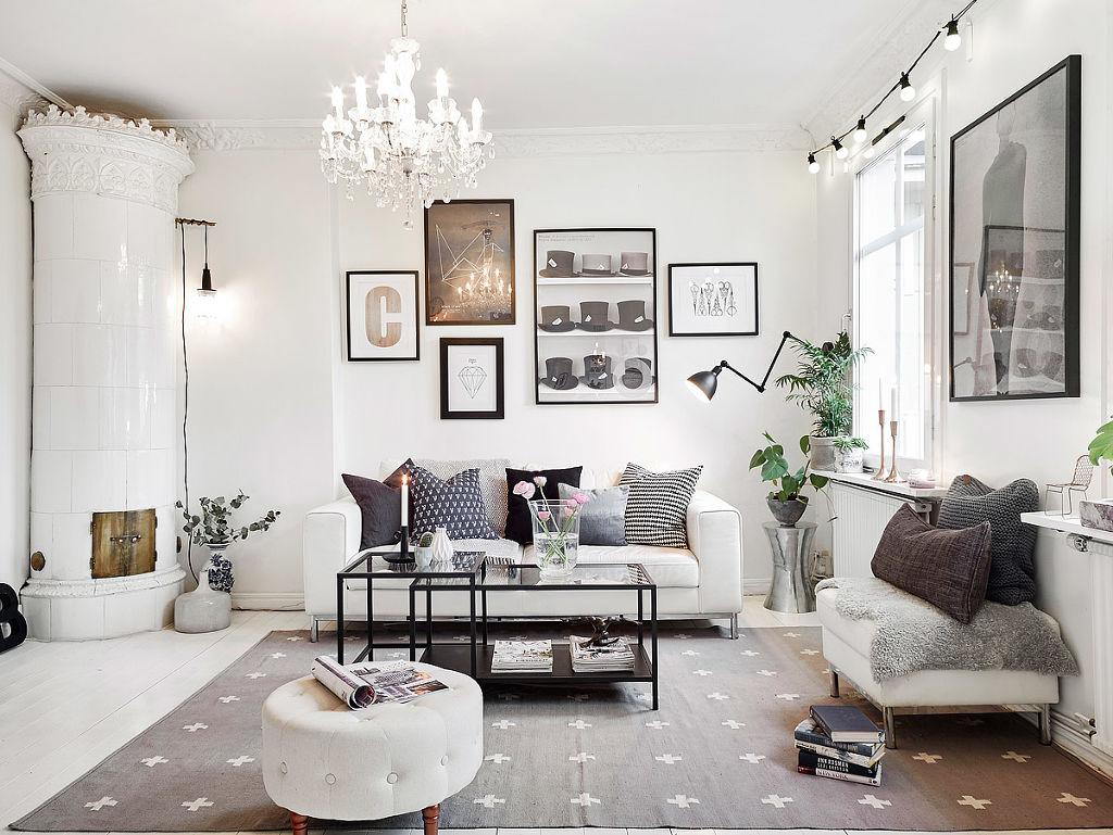 黑白灰北欧客厅装饰效果图_装修百科