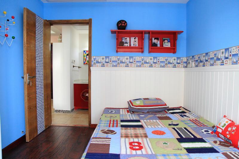 家装儿童房地中海风格蓝色背景墙装饰效果图_装修百科