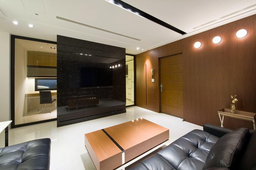 現代客廳黑色電視背景墻設計