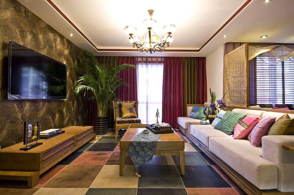 东南亚风格客厅软装装饰效果图_装修百科
