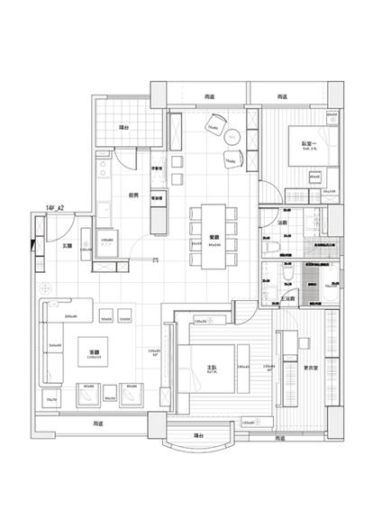 經典現代設計三居室裝修平面圖