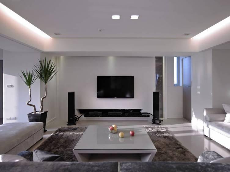 简洁素净现代客厅 电视背景墙装修