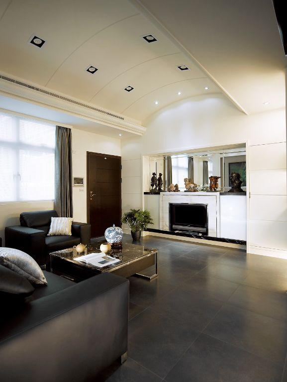 现代家居客厅弧形吊顶效果图_装修百科