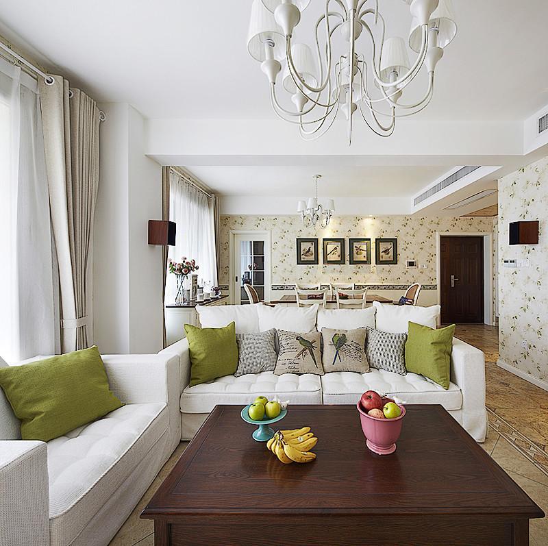 装修百科 装修效果图 装修美图 清新美式客厅白色沙发搭配图 清新美式