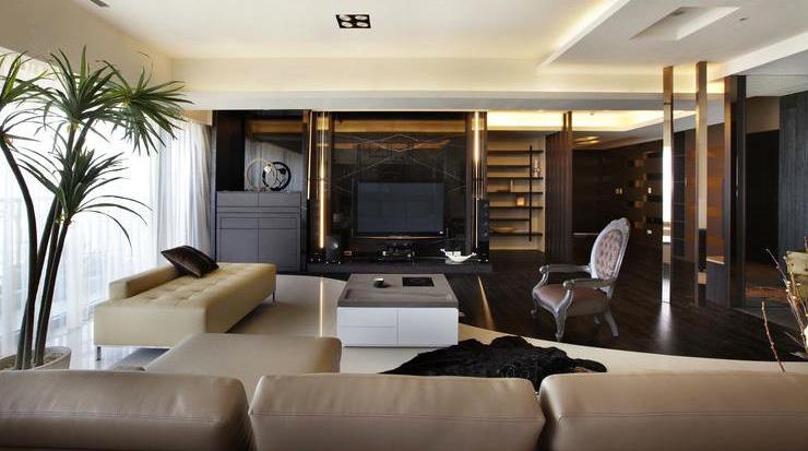 后现代风客厅电视背景墙设计