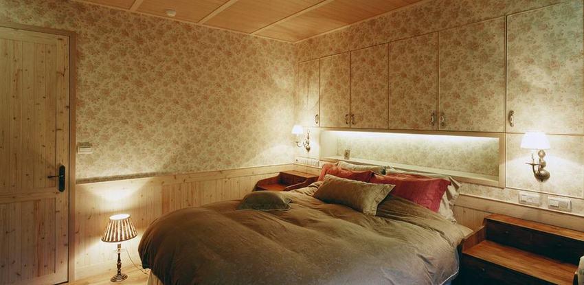 朴素美式田园卧室墙纸装饰效果图_装修百科