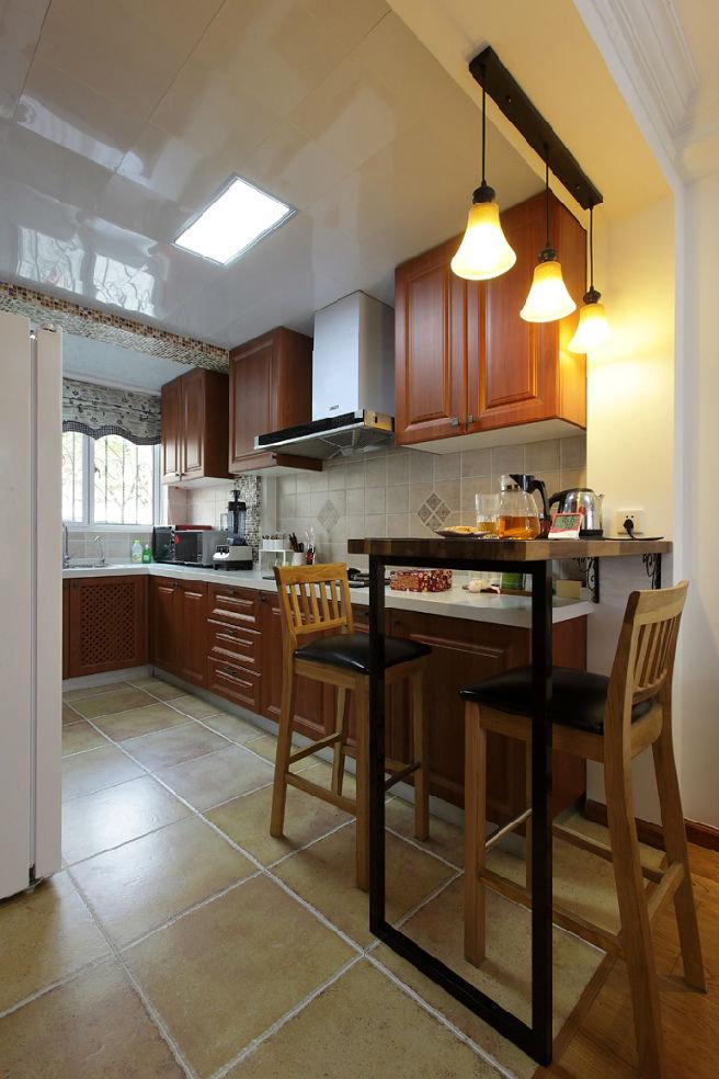 现代美式风格厨房砖砌橱柜装饰_装修百科