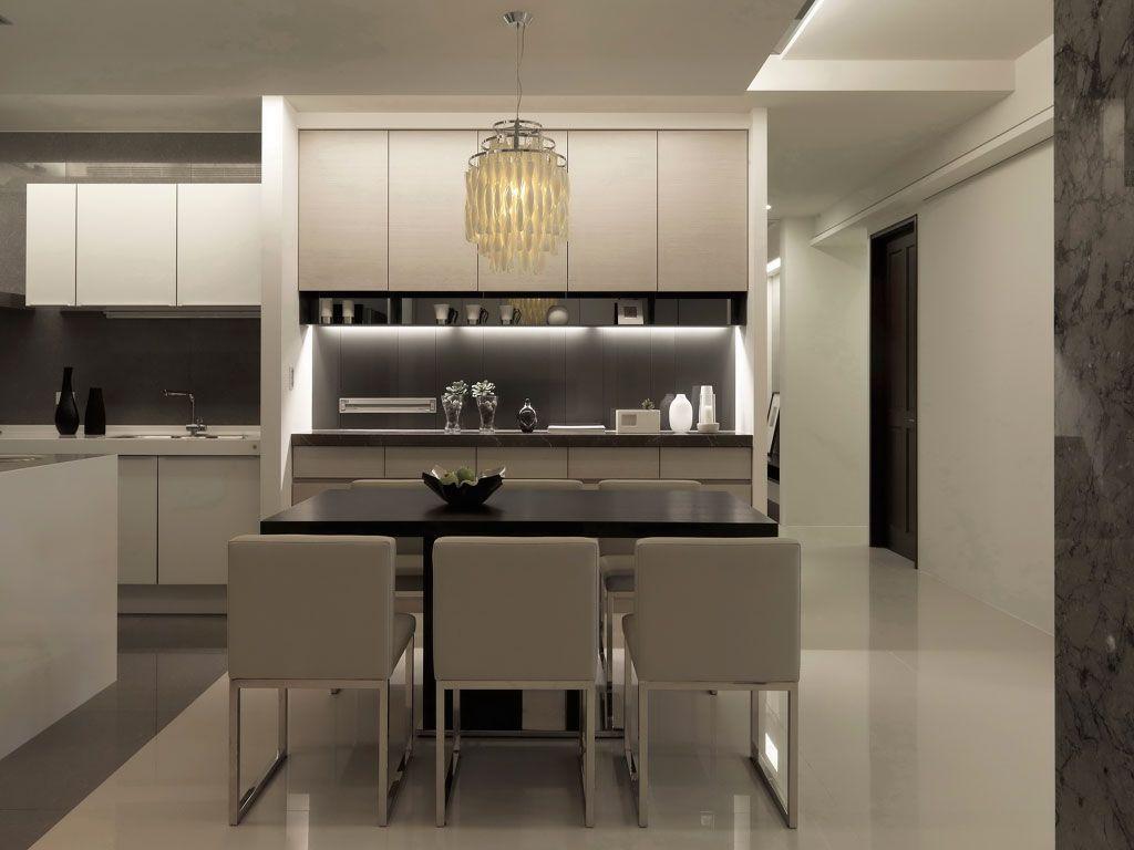 黑白现代家居餐厅吊灯设计